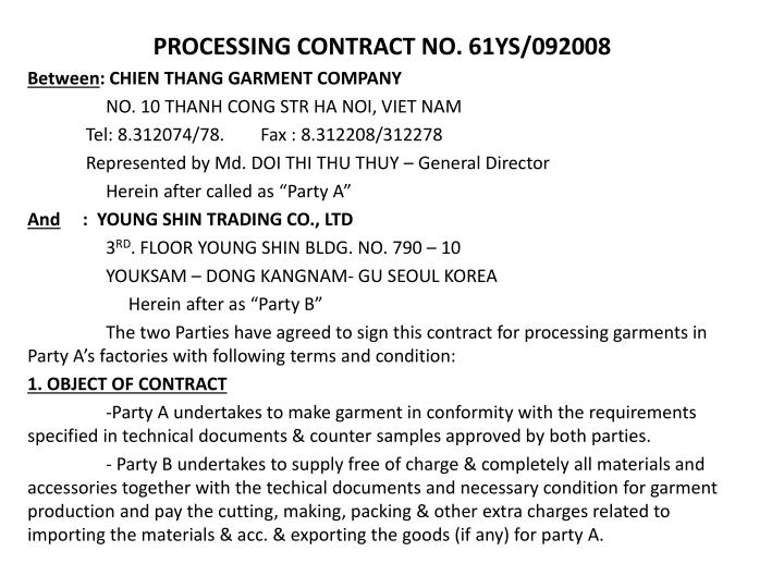 PROCESSING CONTRACT NO.