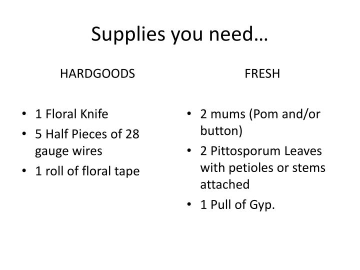 Supplies you need…