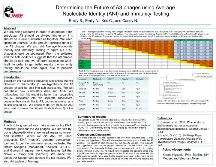 Determining the Future of A3 phages using Average