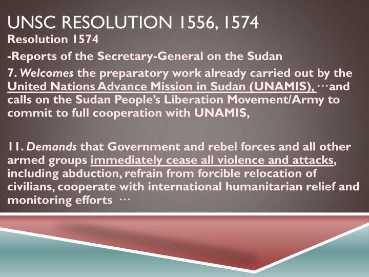 UNSC resolution 1556, 1574