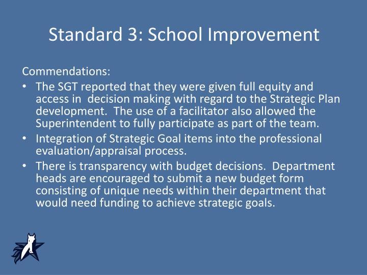 Standard 3: School Improvement