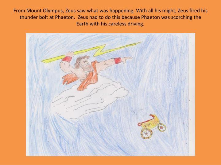 From Mount Olympus, Zeus