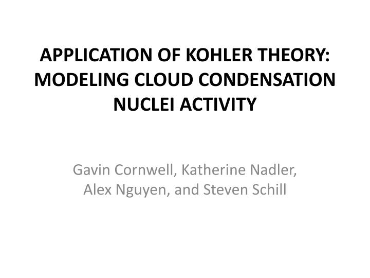 Application of kohler theory modeling cloud condensation nuclei activity