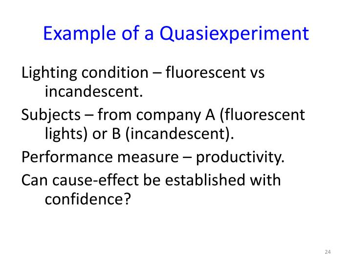 Example of a Quasiexperiment