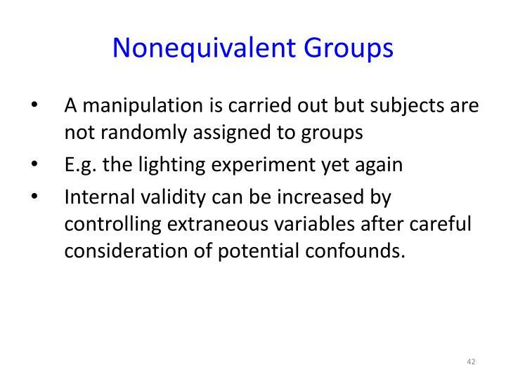 Nonequivalent Groups