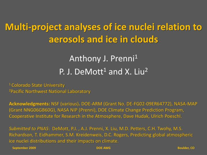 Multi project analyses of ice nuclei relation to aerosols and ice in clouds