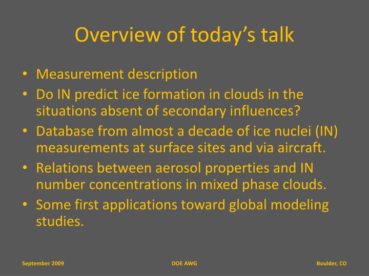 Overview of today s talk