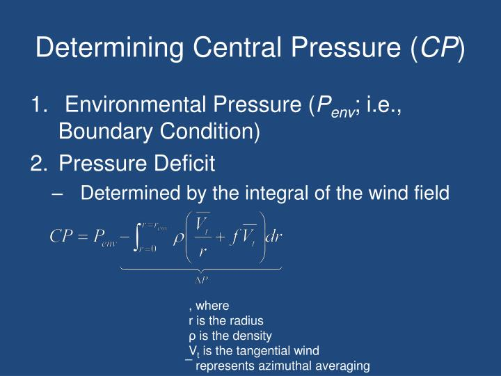 Determining central pressure cp