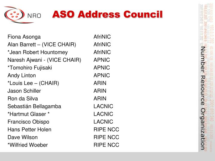 ASO Address Council