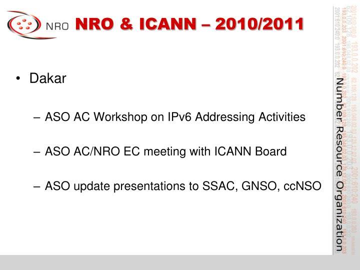 NRO & ICANN – 2010/2011
