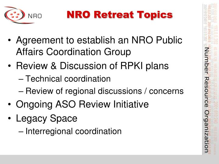 NRO Retreat Topics