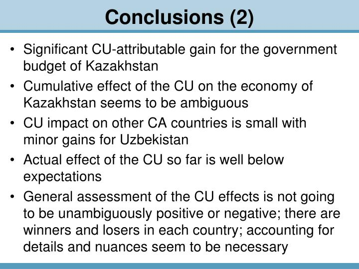 Significant CU-attributable gain for the government budget of Kazakhstan