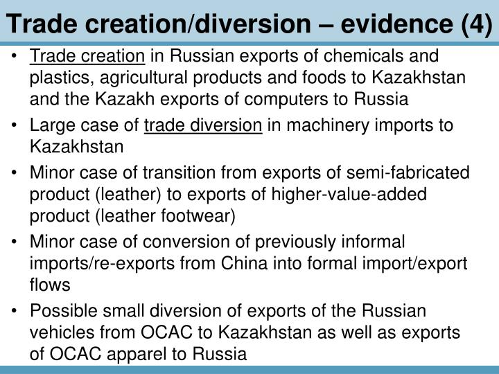 Trade creation/diversion – evidence (4)