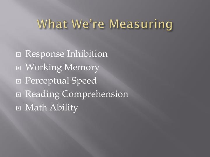 What We're Measuring