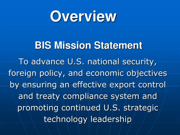 Bis mission statement