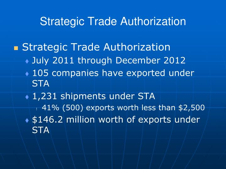 Strategic Trade Authorization