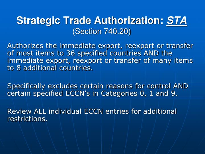 Strategic Trade Authorization: