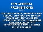 ten general prohibitions p art 736