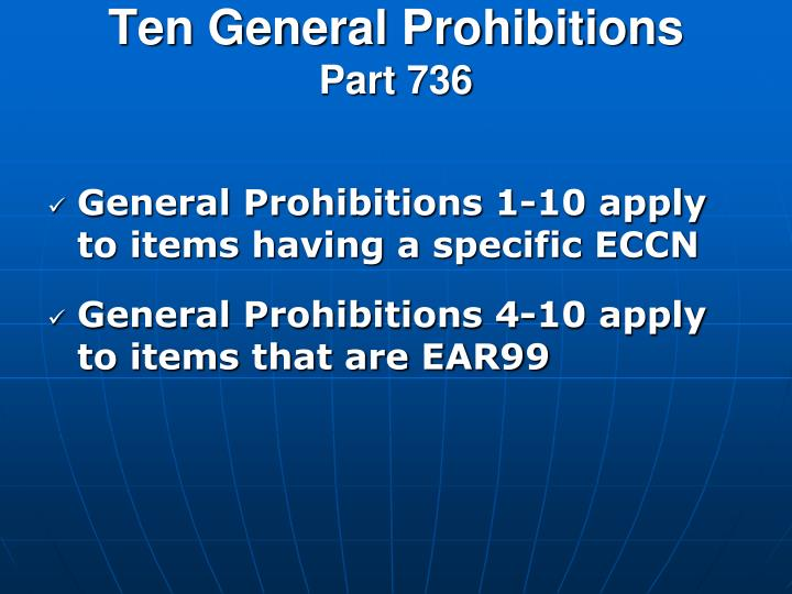 Ten General Prohibitions
