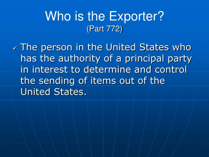 Who is the Exporter?