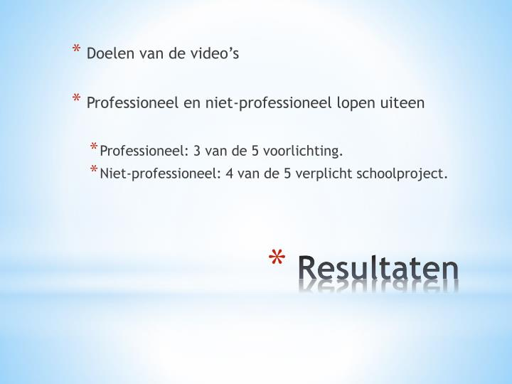 Doelen van de video's