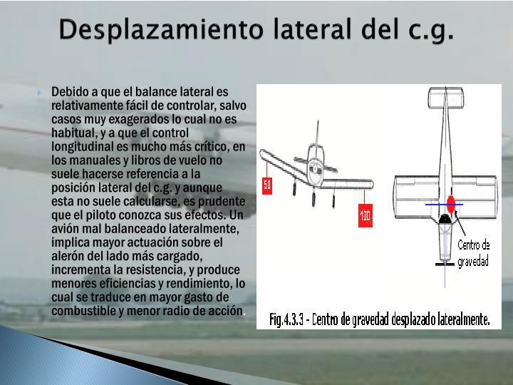 Desplazamiento lateral del c.g.