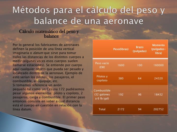 Métodos para el cálculo del peso y balance de una aeronave