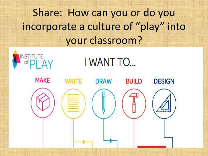 "Share:  How can you or do you incorporate a culture of ""play"" into your classroom?"