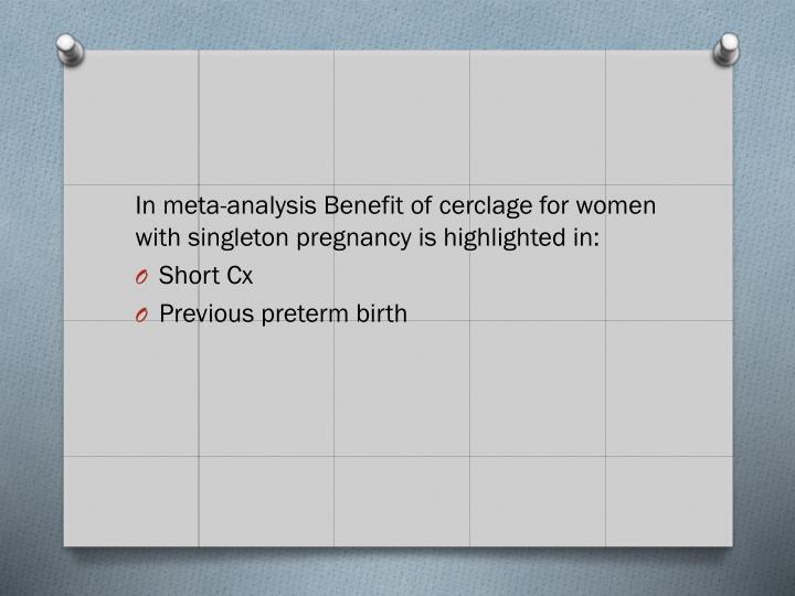 In meta-analysis Benefit of