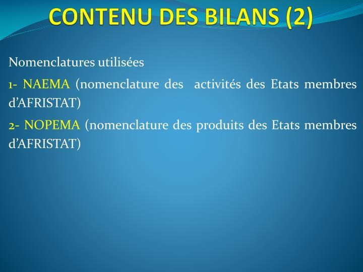 CONTENU DES BILANS (2)