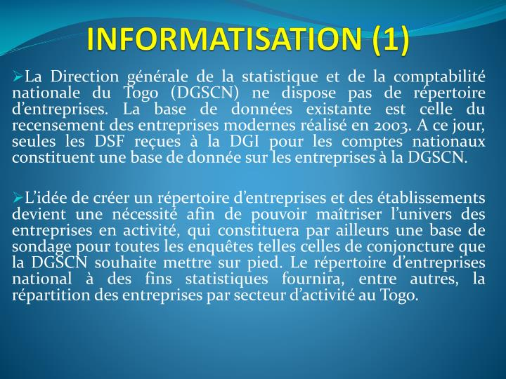 INFORMATISATION (1)