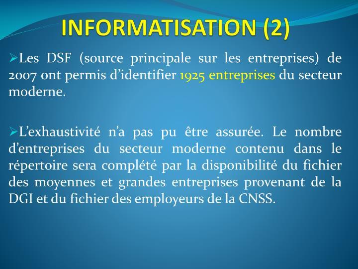 INFORMATISATION (2)