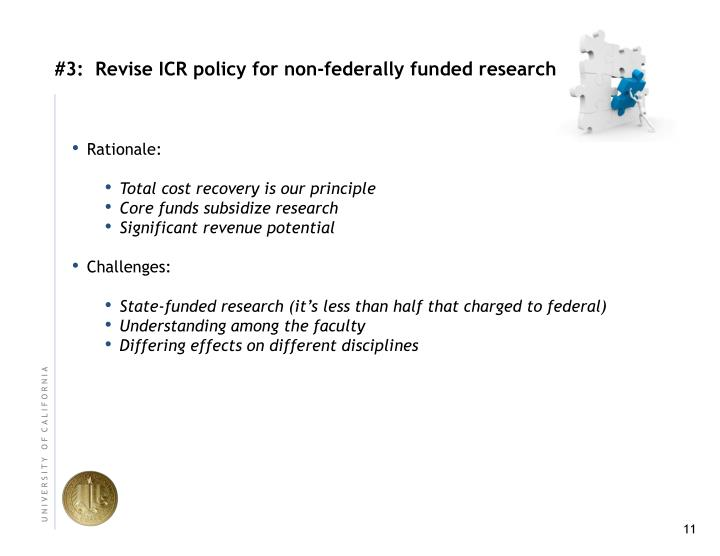 #3:  Revise ICR policy for non‐federally funded research