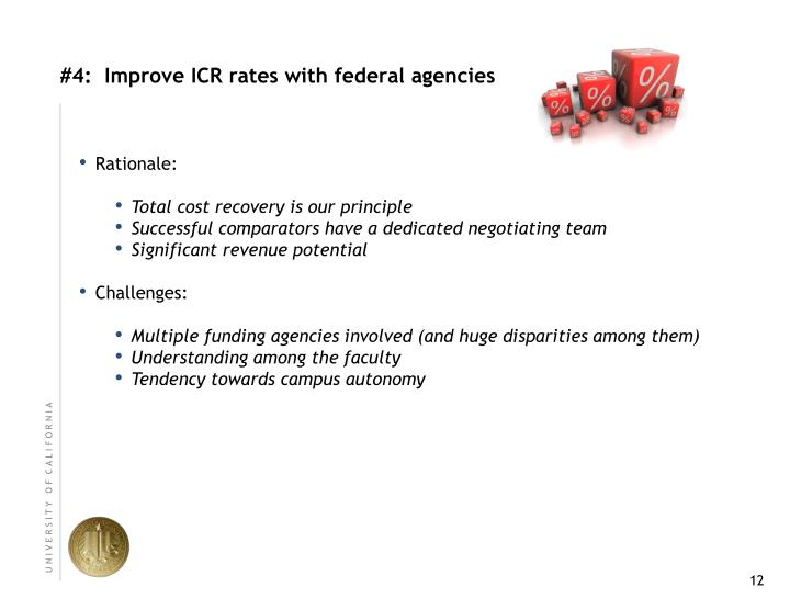 #4:  Improve ICR rates with federal agencies