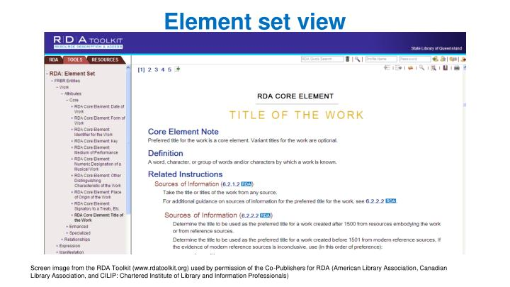 Element set view