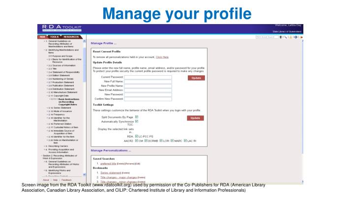 Manage your profile