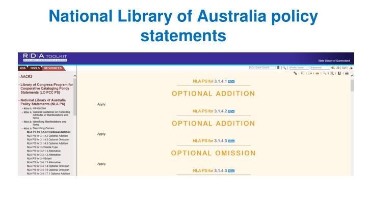 National Library of Australia policy statements