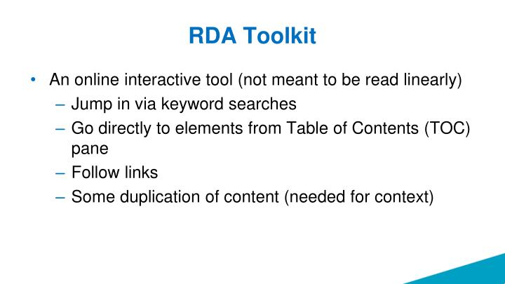 RDA Toolkit