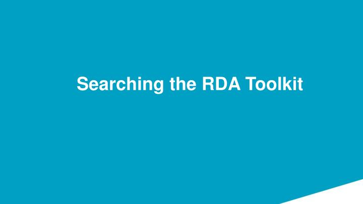 Searching the RDA Toolkit