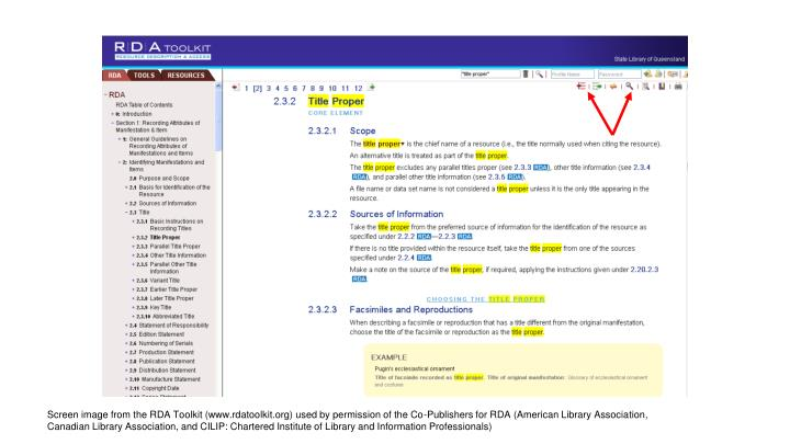 Screen image from the RDA Toolkit (www.rdatoolkit.org) used by permission of the Co-Publishers for RDA (American Library Association, Canadian Library Association, and CILIP: Chartered Institute of Library and Information Professionals)