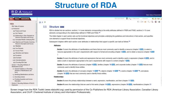 Structure of RDA