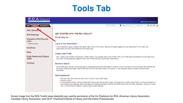 Tools Tab
