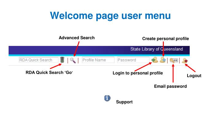 Welcome page user menu