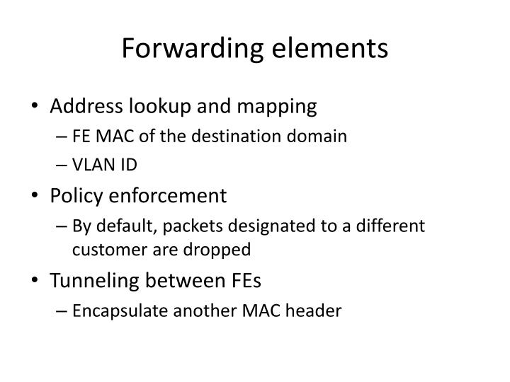 Forwarding elements