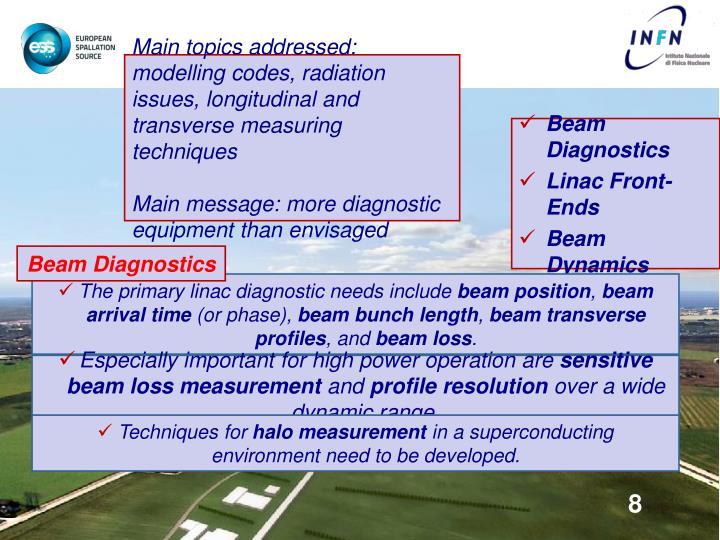 Main topics addressed: