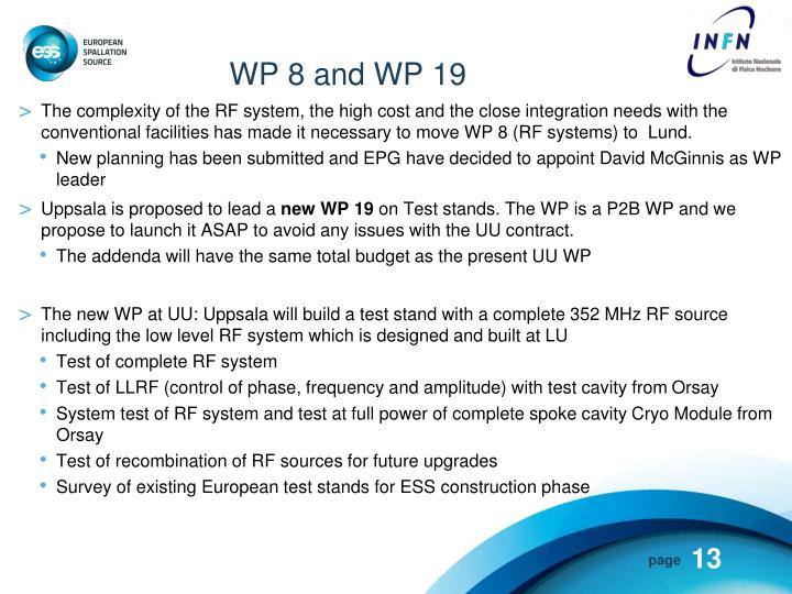 WP 8 and WP 19