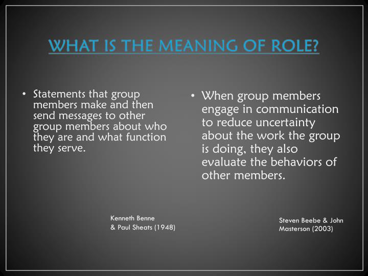 WHAT IS THE MEANING OF ROLE?