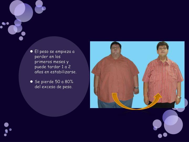 El peso se empieza a perder en los primeros meses y puede tardar 1 a 2 años en estabilizarse.