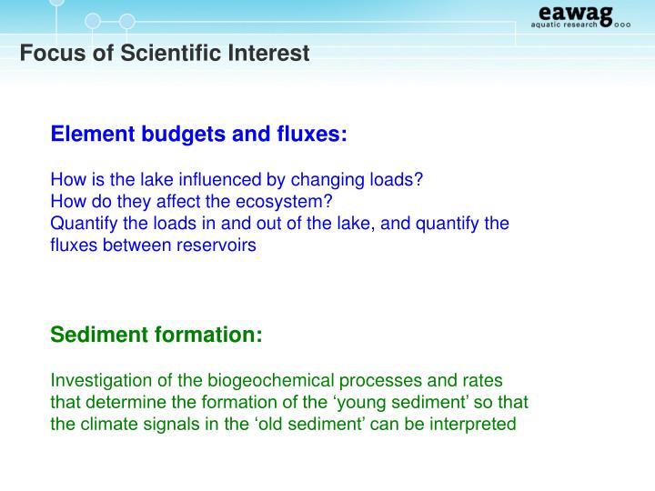 Focus of Scientific Interest