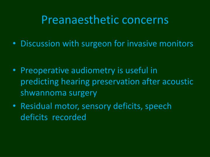 Preanaesthetic